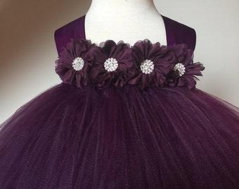 Ciruela berenjena niña de las flores de Satén y encaje Tutu vestido, vestido de novia, niña, niño, las muchachas del bebé