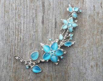 Large Monet Blue Moonglow Cabochon and Rhinestone Flower Brooch