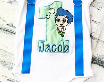 Bubble Guppies Cake Smash Outfit Gil Bubble Guppies 1st birthday bow tie blue suspender set cake smash outfit Boy first birthday Boy number