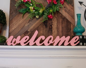 Welcome Wood Word Cutout, Scroll Cut Word, Welcome Wood Sign, Stand on a Shelf Welcome