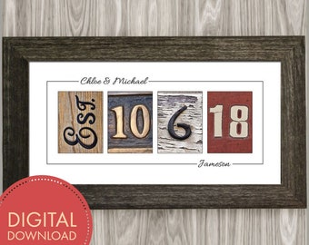 Personalized Wedding Gift for Couples, Digital Download, Established Wedding Date Sign, .JPG File Only, Last Minute Wedding Gifts