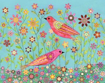 Bohemian Bird Collage Painting, Mixed Media Art Print on Wood