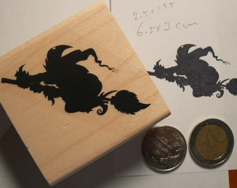 Flying Witch on broom rubber stamp P60