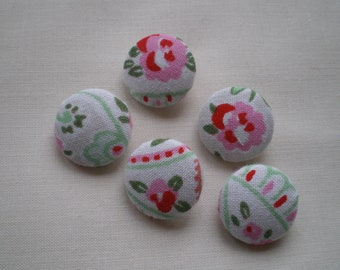 Five x 19 mm Hand Covered Metal Buttons - Cath Kidston Rosali Paisley Cotton Fabric
