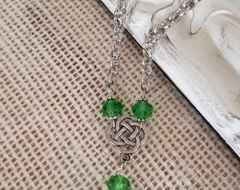 Emerald green glass Celtic necklace