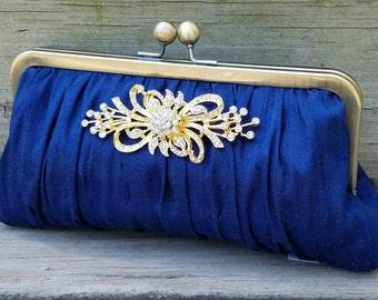Ivory Bridal Clutch, Rhinestone Clutch, Crystal Brooch, White Wedding Purse, Silk Formal Bag {Gathered Kisslock w/ Brooch}