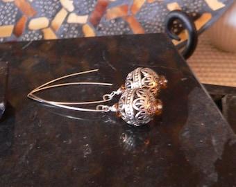 Dangle earring, long earring, silver and brown, filigree earring, bold earring, brown and silver, earring, boho earring, handmade earring