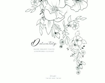 Delicately -  Fine Line Hand Drawn  Floral Clipart. Perfect for wedding stationery, logo and branding design.