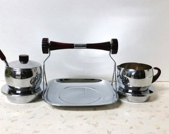 Vintage 1950's Gourmates by Glo Hill Tea Snack Serving Tray with Creamer and Sugar Bakelite Handles and Two Dip Servers Mis Century Modern