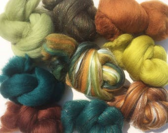 Felting Wools - Merino Wool Tops - Forest pack of 9