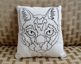 Oli, Cat, Throw Pillow, Screenprinted, Illustration, Small