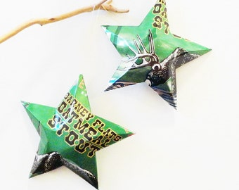 Anderson Valley Barney Flats Oatmeal Stout Stars Ornaments Aluminum Can Repurposed