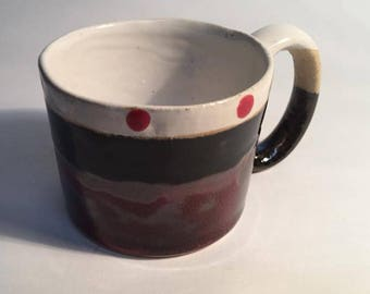 Stoneware Red and Black Mug with dots.