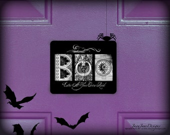 Halloween Door Decor | BOO Sign | Trick Or Treat Front Door Warning Sign | Enter at Your Own Risk | Scary Door Knocker | Halloween Door Sign