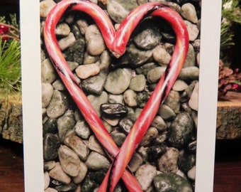 Candy Cane Heart.   Photo Greeting/Note Card. Blank Inside.