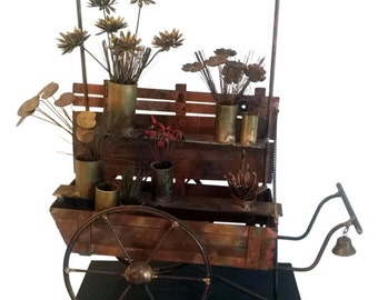 Curtis Jere Vintage Metal Flower Cart Sculpture