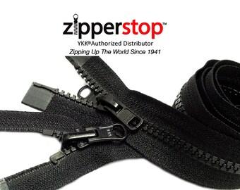 "Black Vislon Reversible Jacket Zipper (24"" TO 36"") YKK Number 5 (2-Way)Dual Separating- ZipperStop Wholesale Authorized Distributor YKK®"