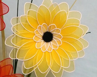 gerbera,1 stem,nylon flower,nylon gerbera,handmade gerbera,handmade flowers,yellow gerbera,unique gift idea,Mother's day,spring flowers