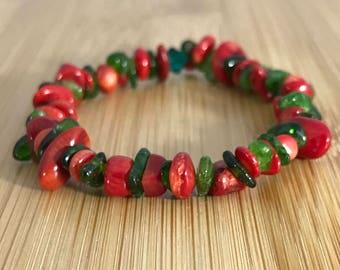 Artsy Coral & Chrome Diopside Holiday Bracelet