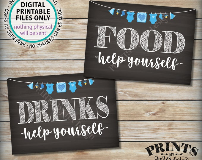 """Food and Drinks Signs, Help Yourself, Buffet, Baby Shower Decorations, Blue Clothesline Boy, Two PRINTABLE 5x7"""" Chalkboard Style Signs <ID>"""