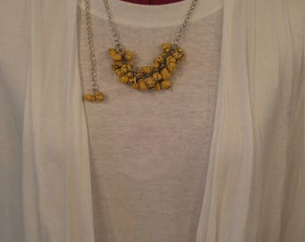 Yellow, stone, cluster, necklace  handmade, silver