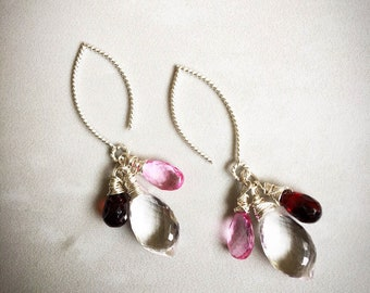 Rock crystal, pink topaz, garnet and sterling silver dangle earrings