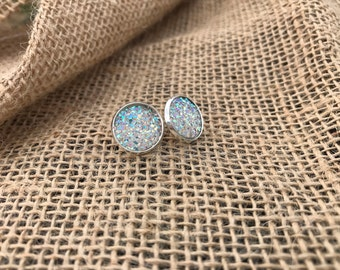 Iridescent 12mm druzy earrings