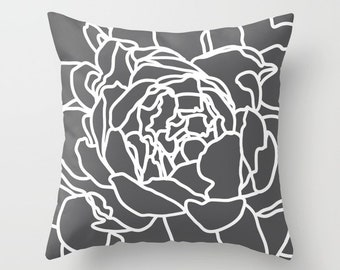 Grey Throw Pillow, Flower Throw Pillow, Pillow with insert , Accent Flower Pillow, Modern Flower Pillow