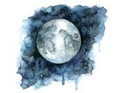 Watercolor Painting, Moon...