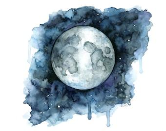"Watercolor Painting, Moon Painting, Moon Print, Moon Phase, Full Moon, Night Sky Print, Night Sky, Stars, Moon,Print titled,""Goodnight Moon"""