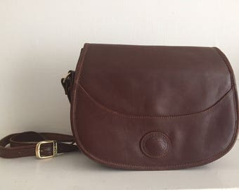 Boncell Genuine Leather Brown Saddle Style Crossbody Bag