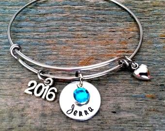 Graduation Bangle Bracelet, 2018 Graduate, Graduation Gift for Her, Daughter Gift, Personalized Bracelet, College Graduate, High School Grad