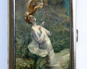 Ophelia Drowning Cigarette Case id case Wallet Business Card Holder Art Nouveau fairytale goth