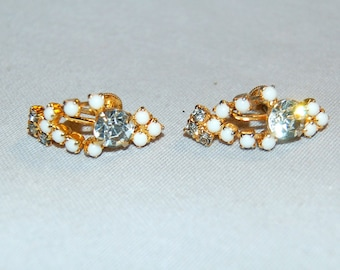 Rhinestone Earrings, Milk Glass Beads, Clear Screw Back, Vintage old jewelry