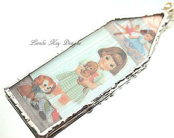 Puppy Love Dollhouse Necklace Soldered Glass House Pendant Dog Theme Necklace Lorelie Kay Designs