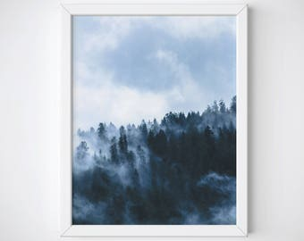 Forest Wall Art, Mountain Wall Art, Forest Poster, Forest Photography, Misty Forest Print, Foggy Forest Print, Forest Landscape Poster