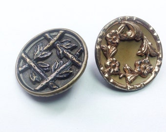 Antique Victorian picture buttons, large size. Victorian picture button with bamboo design and one with flower spay.