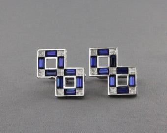 Vintage Geometric Blue Rhinestone Cufflinks By Swank