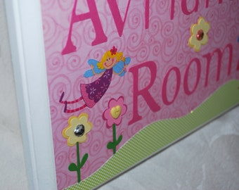 Fairy Door Sign for Girls Room Personalized for Avriana in Pink . Green . Teal . Yellow