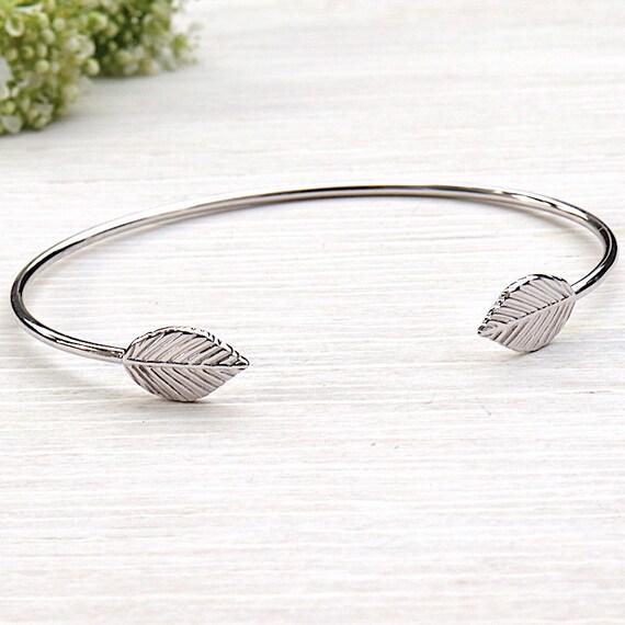 925 sterling silver leaf Bangle Bracelet