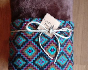 Artisan Minky Brown & Flannel Turquois Baby Blanket ~Aztec Patterned~Earth Tones~Large Baby Blanket~Cuddly Soft Blanket