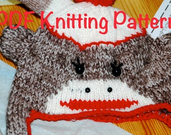 Sock Monkey Ear Flap Knitted Hat Pattern