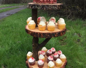 Collapsible Large Log Pine Wood Rustic Cake 60-70 Cupcake Stand Wedding party shower wooden 3 tiered, lumberjack party, boho, wild things ar