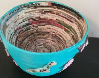 Blue japanese inspired recycled magazine paper bowl