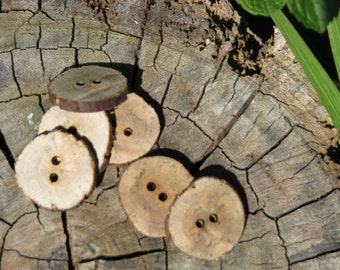 Wooden Buttons Hand Made from Locally Grown Cherry Plum Tree - Unfinished (pack of 6)