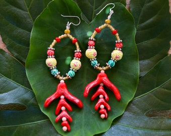 Tropical Floral Statement Earrings / Colorful Hoop Earrings / Red Oversized Earrings / Rainbow Statement Jewelry / Tropical Hoop Earrings
