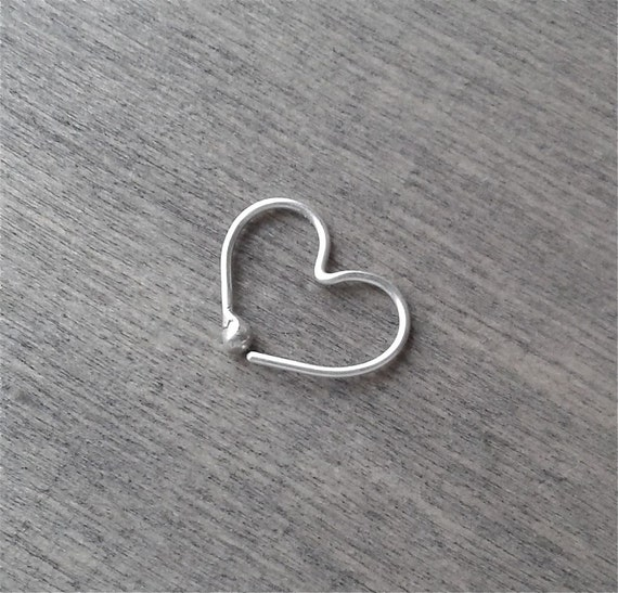 Herz Hoop Ohrring Silber Draht Hoop kleine Hoop Ohrring 20