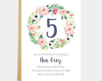 Floral invitation etsy floral birthday party invitation girl floral invitation watercolor flowers flower birthday girl stopboris Image collections