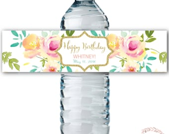 Water Bottle Labels // Floral Watercolor//Mint// Water Wrap// Birthday // Yellow//Peach // Pink // Printed or Printable // MALIBU COLLECTION