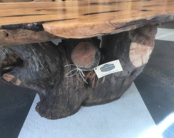 Reclaimed Live Edge Tree Trunk Coffee Table